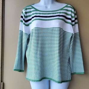 Green Striped Womens George Stretchy Blouse